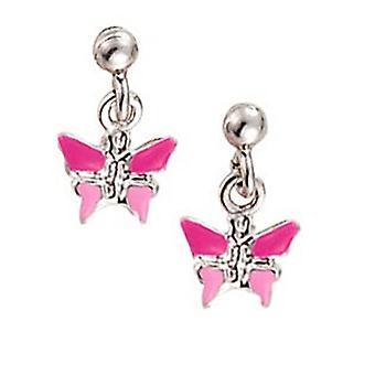 Spejder børn øreringe sølv sommerfugl pink pige 262113100