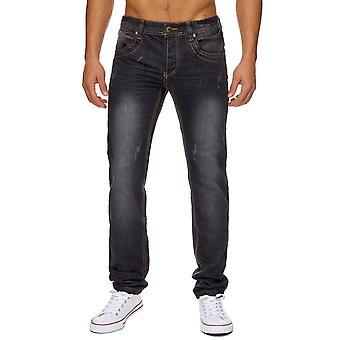 Побеленными Мужские джинсы брюки декоративных швов классические прямые джинсы клуб тонкий