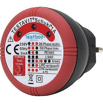 Testboy Schuki® 1A Mains outlet tester CAT II 300 V LED