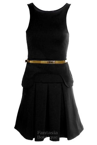 Ladies Celeb Black Beige Red Sexy Pleated Sleeveless Skirt Women's Dress