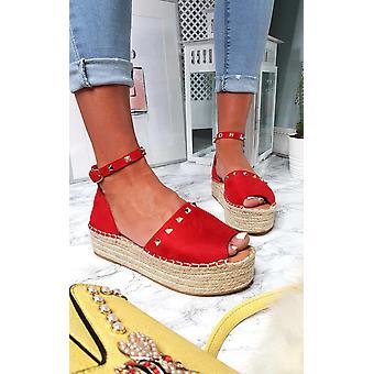 IKRUSH Womens Kandi Studded Espadrille Flatform Sandal