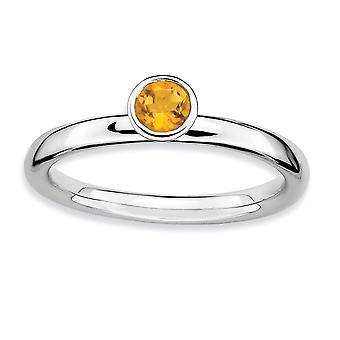 925 Sterling Sølv Ramme Polert Stackable Uttrykk Høy 4mm Runde Citrine Ring Smykker Gaver Til Kvinner - Ring Størrelse