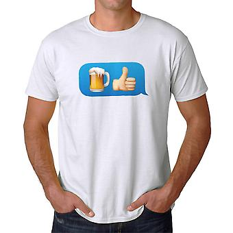 Funny Beer Thumbs Up Emoji Graphic Men's White T-shirt