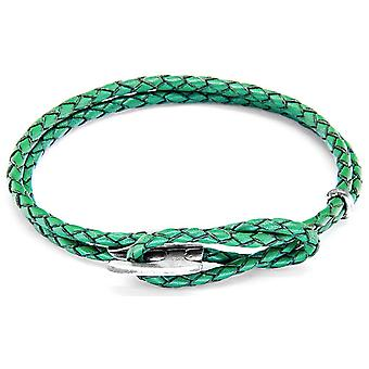 Anchor and Crew Padstow Silver and Leather Bracelet - Fern Green