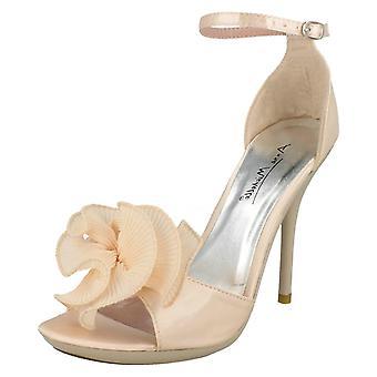 Ladies Anne Michelle Peep Toe Heels With Flower Detail