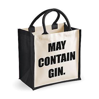 Medium Jute Bag May Contain Gin Black Bag