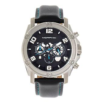 Morphic M73 Series Chronograph Leather-Band Watch - Silver/Black