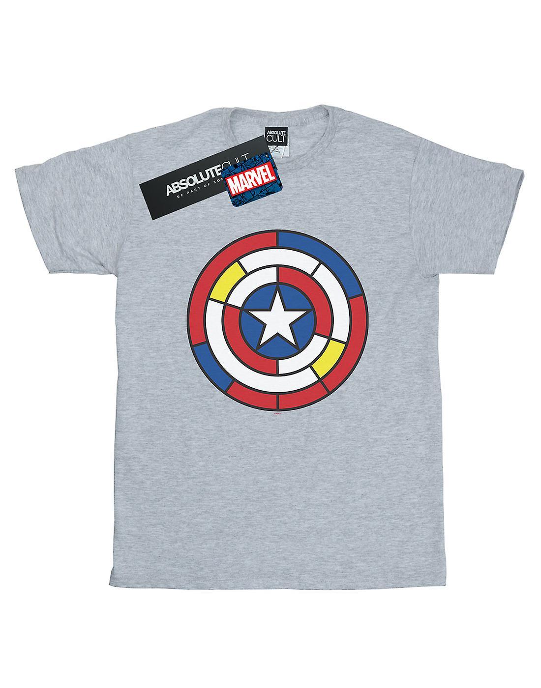 Marvel Women's Captain America Stained Glass Shield Boyfriend Fit T-Shirt