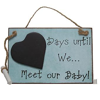 Wooden Days Until We Meet Our Baby Hanging Chalkboard