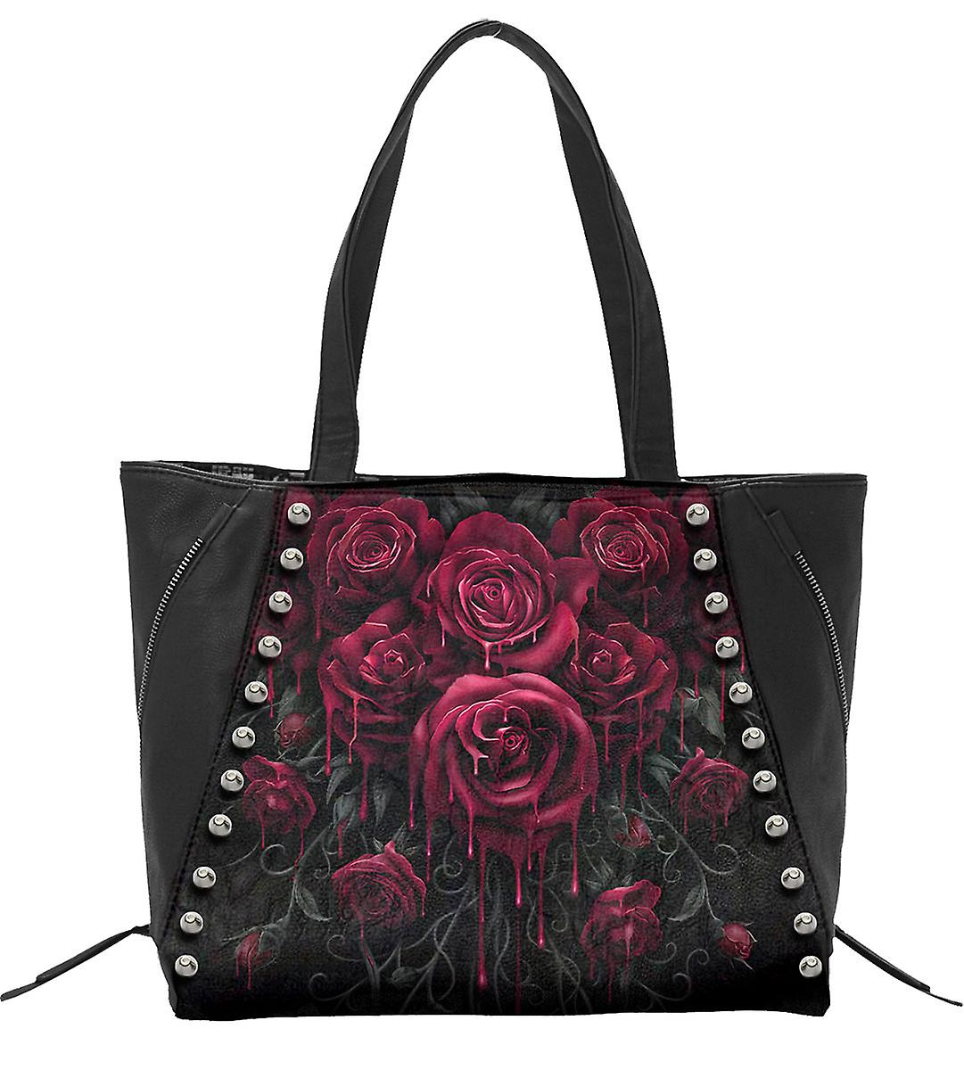 Spiral Direct Gothic BLOOD ROSE - Tote Bag - Top quality PU Leather Studded|Roses|Blood|Gothic