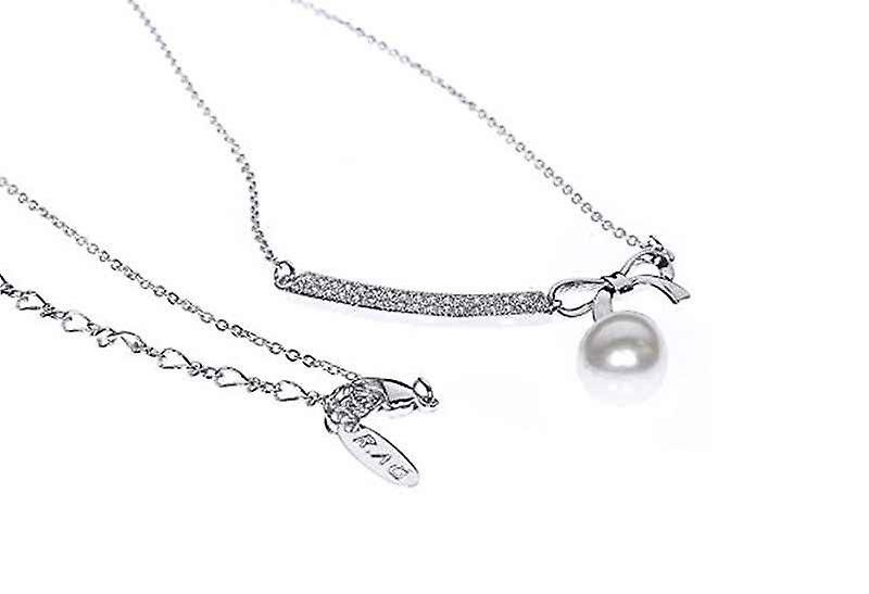 Delicate Fashion Tied W/ Bow Pearl Pendant Drop Necklace