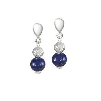 Eternal Collection Debutante Lapis Lazuli Semi Precious Silver Tone Drop Clip On Earrings