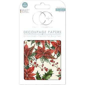 Craft Consortium Traditional Poinsettia Decoupage Papers (CCXDECP049)