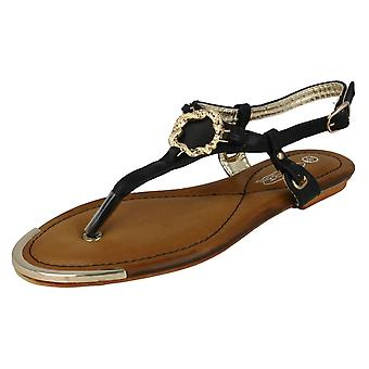 Ladies Spot On Flat Toe Post Sandal With Snake Trim F0643