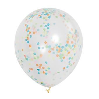 Unique Party Clear 12 Inch Multi Colour Confetti Balloons (Pack of 6)