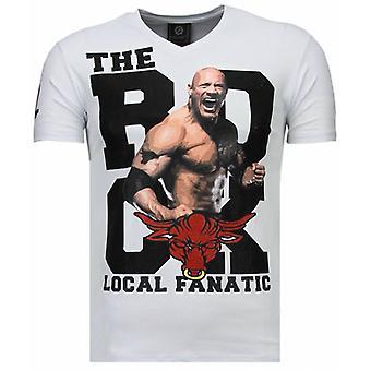 The Rock-Rhinestone T-shirt-White