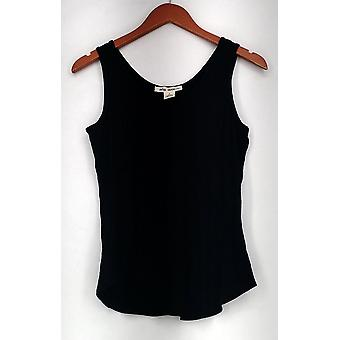 Indigo Thread Co. Solid Stretch Knit Scoop Neck Tank Top Black A428156