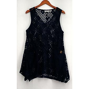 OSO Casuals Open Knit Decorative Pocket Round Neck Tank Blue Womens A424904