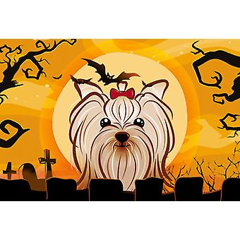 Halloween Yorkie Yorkishire Terrier Fabric Placemat