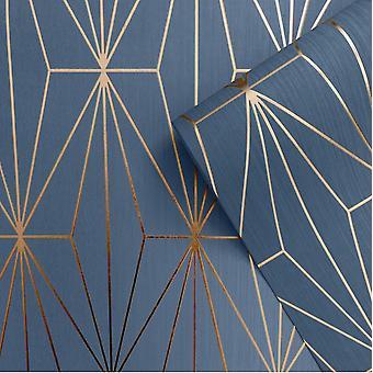 Blauw brons metallic geometrische wallpaper driehoeken vinyl reliëf Muriva Kayla