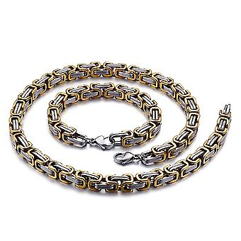 5mm royal chain bracelet men's necklace men's chain necklace, 19 cm silver / gold stainless steel chains