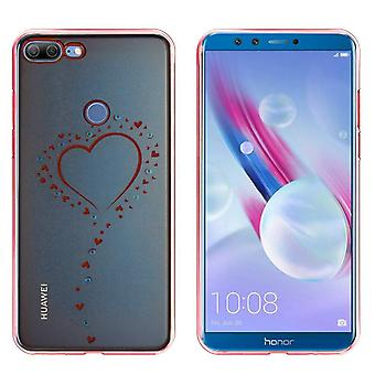 Huawei Honor 9 Lite Mål Hearts Rose Gold - Backcover Clear Bumper Look