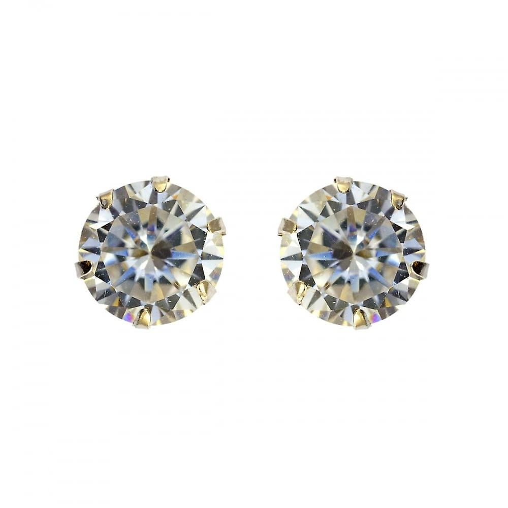 Eternity 9ct White Gold Round 5mm Cubic Zirconia Stud Earrings
