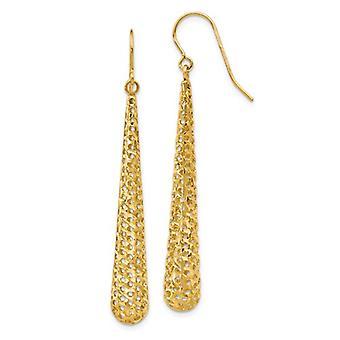 14k Yellow Gold Dangle Textured Shepherd Hook Earrings Jewelry Gifts for Women - 2.0 Grams