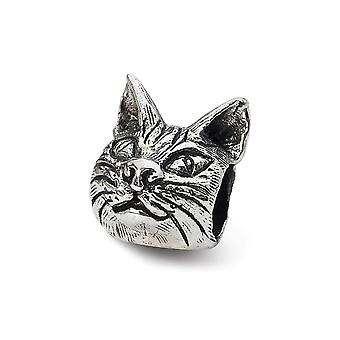 925 Sterling Silver Polished Antique finish Reflections Maine Coon Cat Head Bead Charm