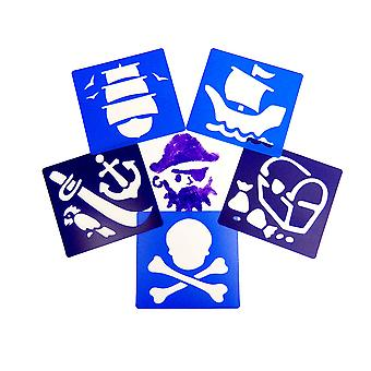 6 Plastic Washable Pirate Stencils for Kids