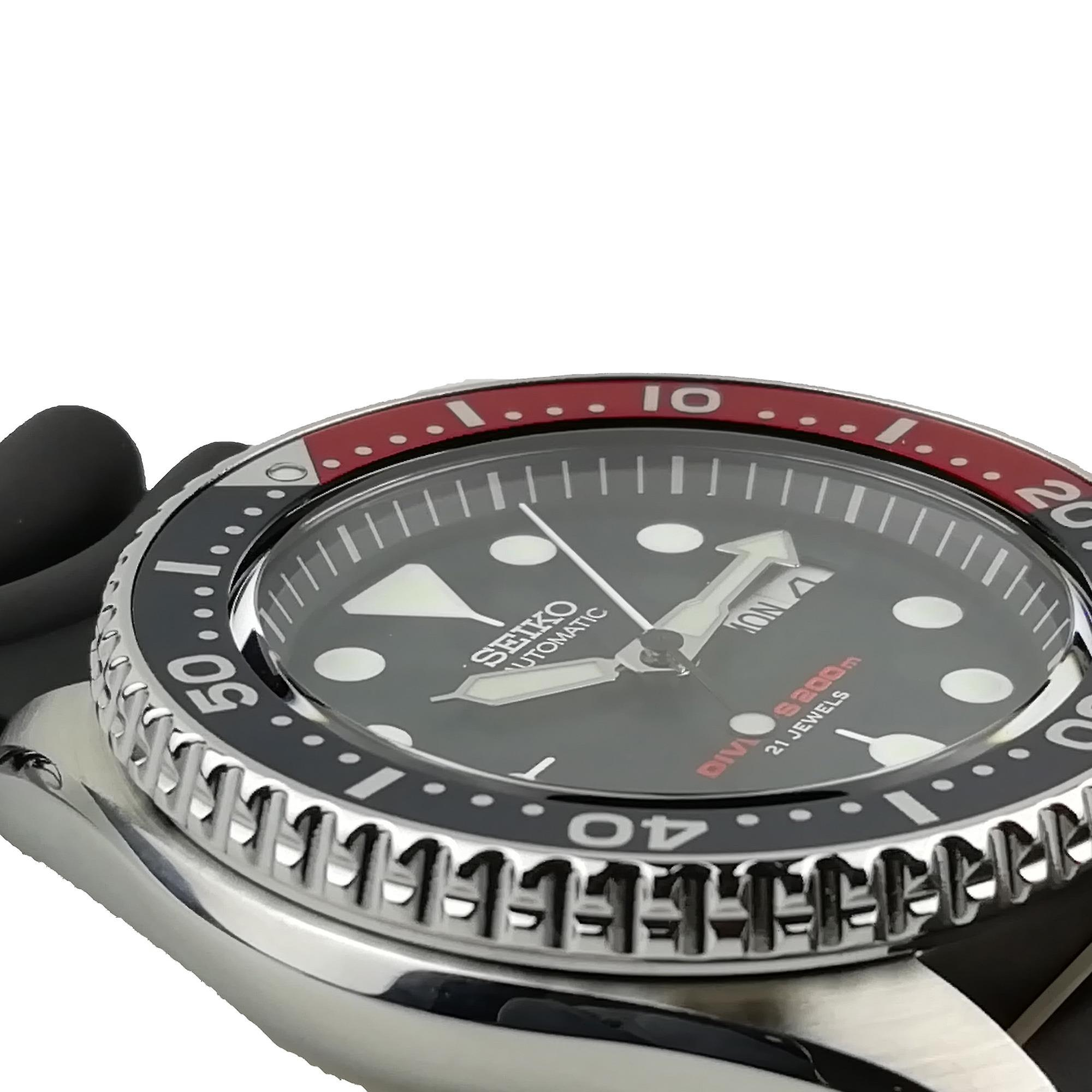 Seiko Japanese Made Divers Pepsi Automatic 200m Silver Stainless Steel Black Rubber Strap Mens Watch