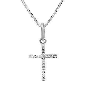 Dazzlingrock Collection 0.06 Carat (ctw) 14K Round Diamond Ladies Cross Pendant (Silver Chain Included), White Gold