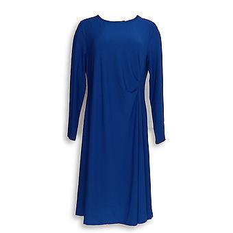 Dennis Basso Dress Fit Flare Caviar Crepe Blue A301429