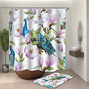 Turquoise Peacock And Flowers Shower Curtain