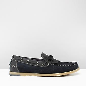 Silver Street London Savoy Mens Suede Fringe Loafers Navy