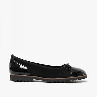 Gabor Temptation Ladies Suede Ballerina Shoes Black