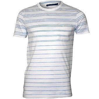 Ranskan yhteys raidallinen Crew-Neck Pocket T-paita, valkoinen/Kashmir sininen