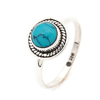 Ring Zilver 925 Sterling Zilver Turquoise Blue Green Stone (Nr: MRI 114)