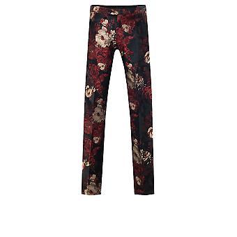 Dobell Mens Red/Black Tuxedo Trousers Slim Fit Tropical Jacquard Print