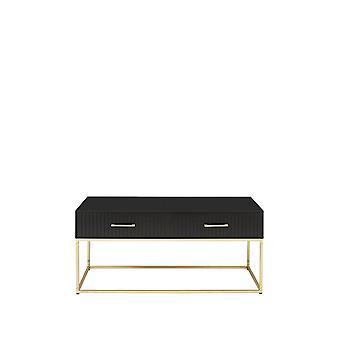 Pisa 2 Drawer Storage Coffee Table in Black/Gold