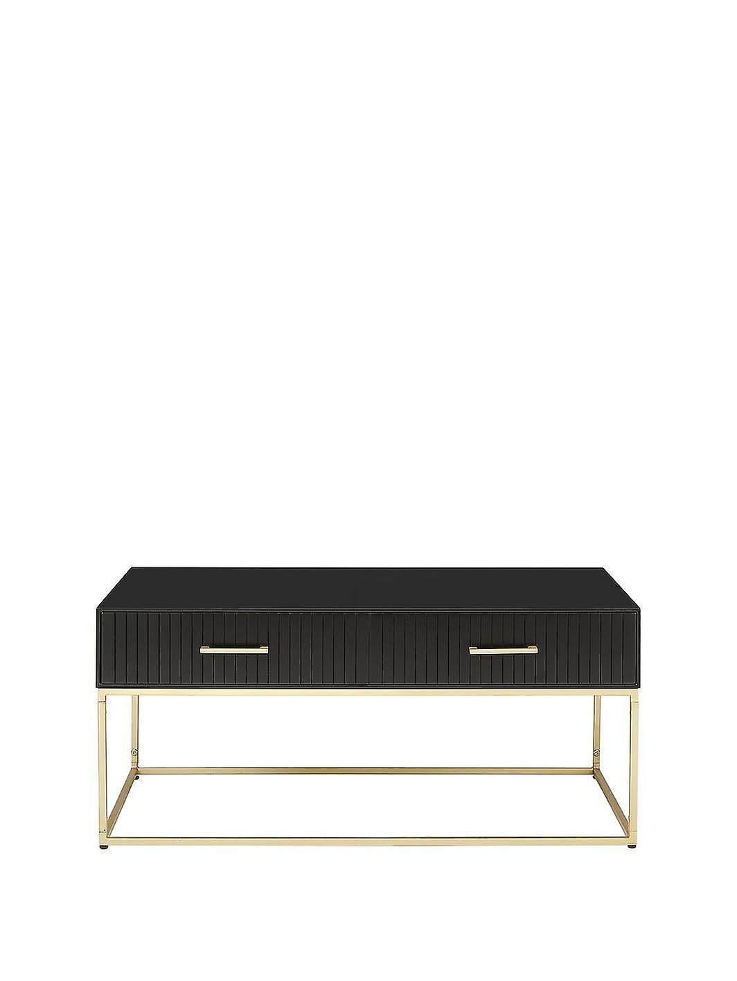 Pisa 2 Drawer Storage Coffee Table in Black/Gold