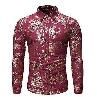 Allthemen muži ' s tištěný oděv zlatý vzorkový tisk dlouhé rukávy šaty