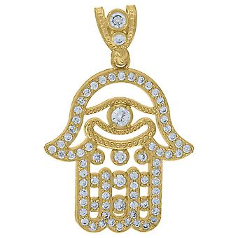 10k Yellow Gold Mens Cubic Zirconia CZ Hamsa Hand Charm Pendant Necklace Measures 35.5x21.00mm Wide Jewelry Gifts for Me