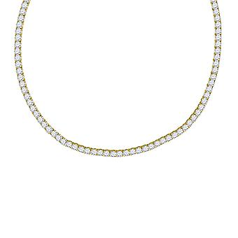 Yellow tone 925 Sterling Silver Mens Womens Unisex 4mm 18 Inch CZ Cubic Zirconia Simulated Diamond Tennis Chain Jewelry