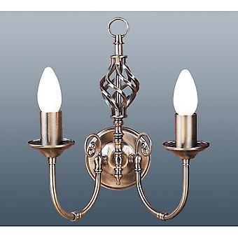THLC Traditional Barley Knot Twist 2 Light Wall Light Lamp, Lighting Antique Brass