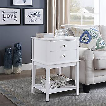 Charles Bentley 2 Drawer Wooden Bed Side Coffee/Lamp Table/Storage/Cabinet White