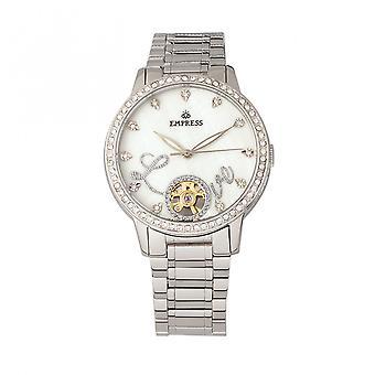 Empress Quinn Automatic MOP Semi-Skeleton Dial Bracelet Watch - Silver