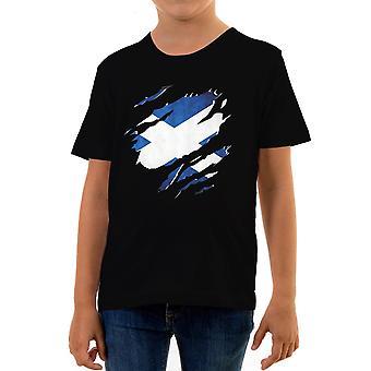 Reality glitch torn scotland flag kids t-shirt
