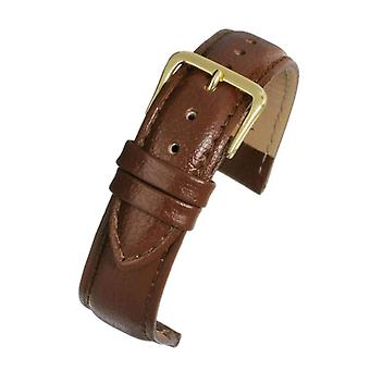 Buffalo grain watch strap brown padded gold plated buckle size 12mm to 26mm