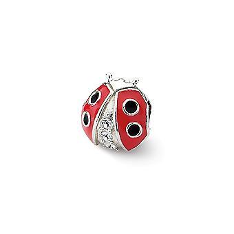 925 plata esterlina pulido reflexiones ladybug con cristal abalorios encanto colgante collar regalos de joyería para las mujeres